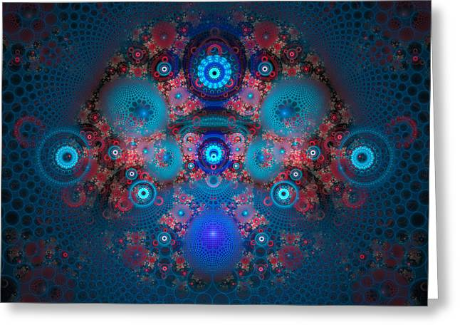 Abstract fractal art blue and red Greeting Card by Matthias Hauser