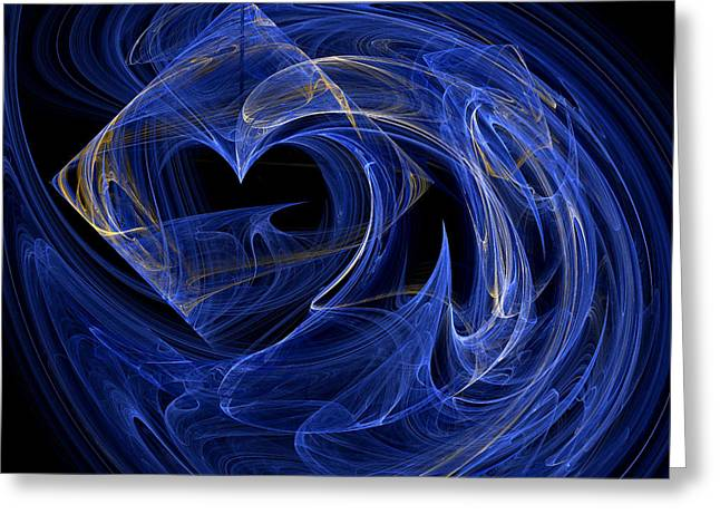 Computer Design Greeting Cards - Abstract Fractal Art - Psychedelic - Blue Spiral Pattern  Greeting Card by Keith Webber Jr