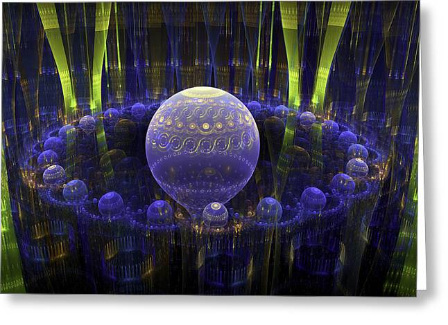 Spheres Greeting Cards - Abstract Fractal Art - Psychedelic Spheres - Modern Digital Image - Blue Green Greeting Card by Keith Webber Jr