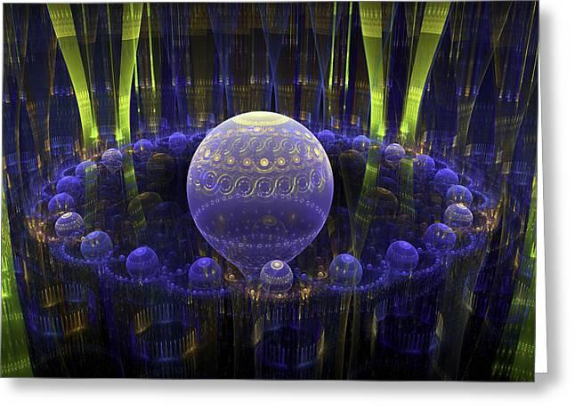 Spheres Digital Art Greeting Cards - Abstract Fractal Art - Psychedelic Spheres - Modern Digital Image - Blue Green Greeting Card by Keith Webber Jr