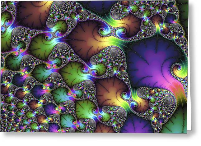 Sienna Digital Art Greeting Cards - Abstract fractal art purple sienna green Greeting Card by Matthias Hauser