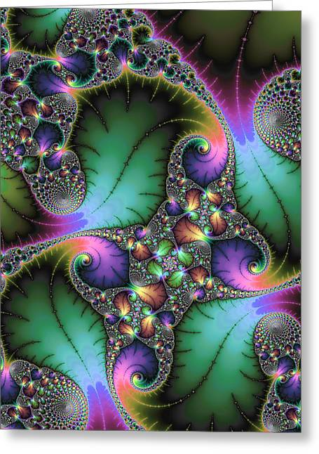 Jewel Tone Greeting Cards - Abstract fractal art with jewel colors Greeting Card by Matthias Hauser