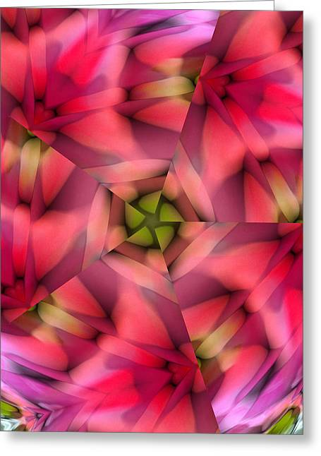 Star Points Greeting Cards - Abstract from Pink Rose Greeting Card by Linda Phelps