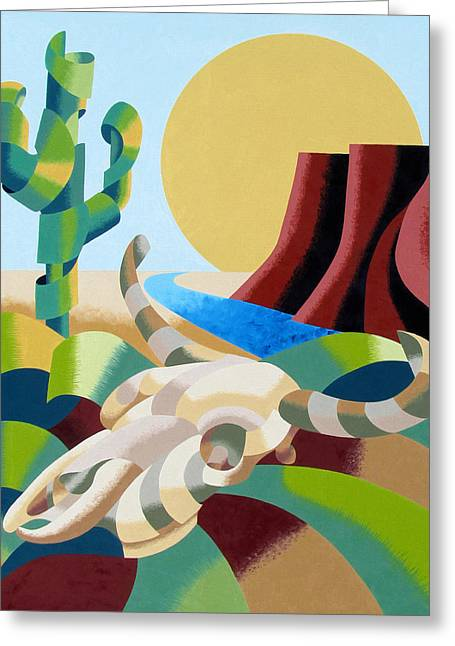 Steer Greeting Cards - Abstract Futurist Soutwestern Desert Landscape Oil Painting  Greeting Card by Mark Webster