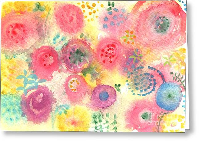 Nursery Mixed Media Greeting Cards - Abstract Garden #45 Greeting Card by Linda Woods