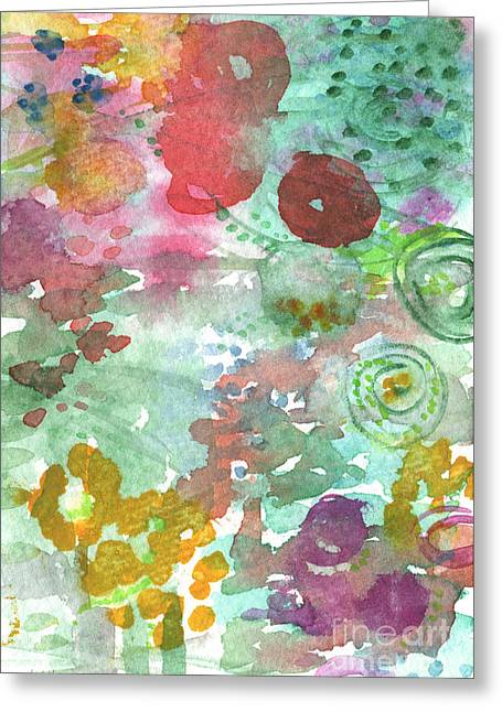 Commercials Mixed Media Greeting Cards - Abstract Garden Greeting Card by Linda Woods