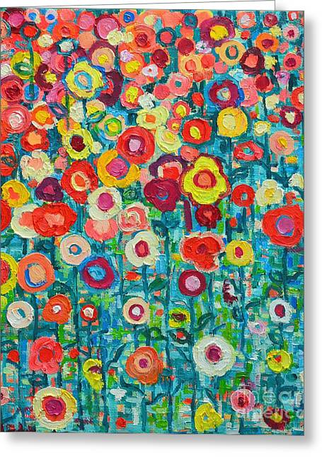 Palette Knife Greeting Cards - Abstract Garden Of Happiness Greeting Card by Ana Maria Edulescu