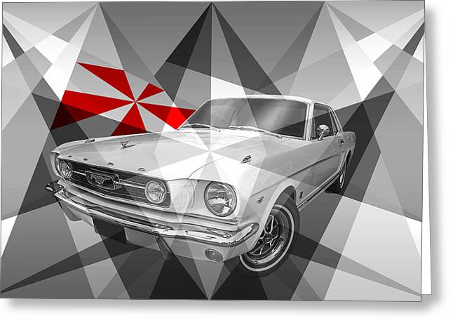 Geometric Artwork Greeting Cards - Abstract Geometric 66 Mustang Greeting Card by Gill Billington