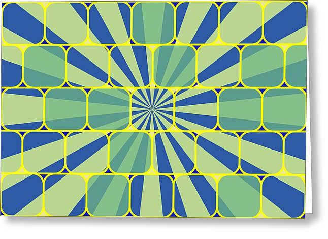 Geometric Digital Art Greeting Cards - Abstract geometric blue Greeting Card by Gaspar Avila