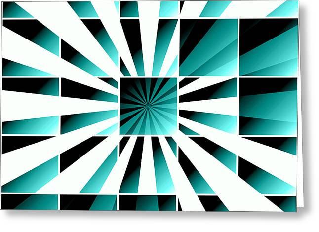 Geometric Digital Art Greeting Cards - Abstract geometric turquoise Greeting Card by Gaspar Avila