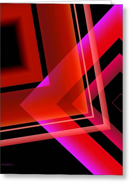 Transparency Geometric Greeting Cards - Abstract Geometry in Red transparency Greeting Card by Mario  Perez