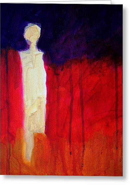 Human Spirit Paintings Greeting Cards - Abstract Ghost Figure No. 1 Greeting Card by Nancy Merkle