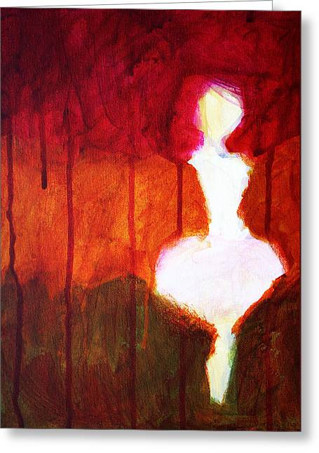 Recently Sold -  - Ghostly Greeting Cards - Abstract Ghost Figure No. 2 Greeting Card by Nancy Merkle