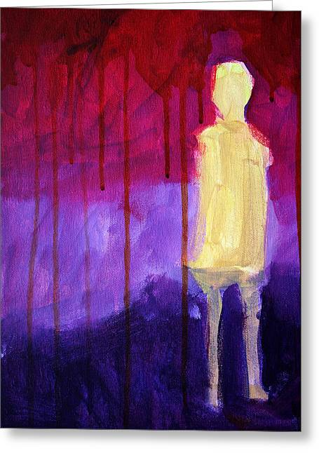 Human Spirit Paintings Greeting Cards - Abstract Ghost Figure No. 3 Greeting Card by Nancy Merkle
