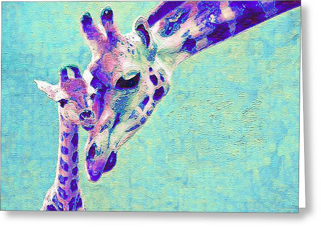 Animals Love Greeting Cards - Abstract Giraffes Greeting Card by Jane Schnetlage