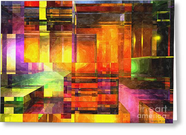 Distortion Greeting Cards - Abstract Glass - 19052013 - AMCG Greeting Card by Michael C Geraghty