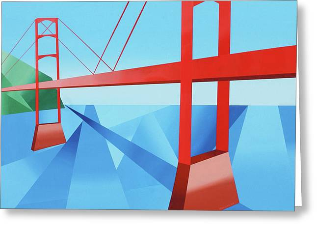 Daily Painter Greeting Cards - Abstract Golden Gate Bridge Greeting Card by Mark Webster