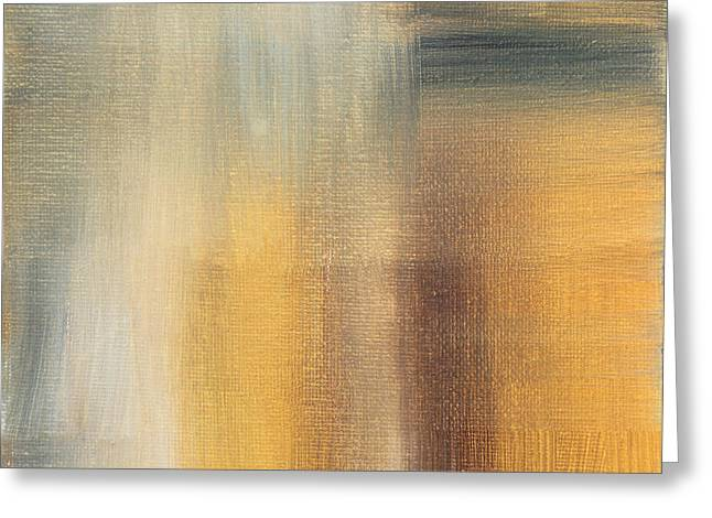 Abstract Golden Yellow Gray Contemporary Trendy Painting Fluid Gold Abstract II By Madart Studios Greeting Card by Megan Duncanson