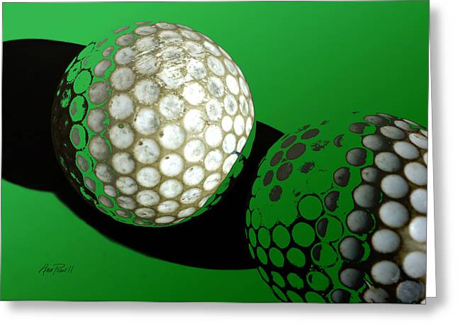 Golf Photos Greeting Cards - Abstract  Golf Balls in Green  Greeting Card by Ann Powell