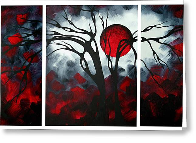 Crimson Greeting Cards - Abstract Gothic Art Original Landscape Painting IMAGINE by MADART Greeting Card by Megan Duncanson