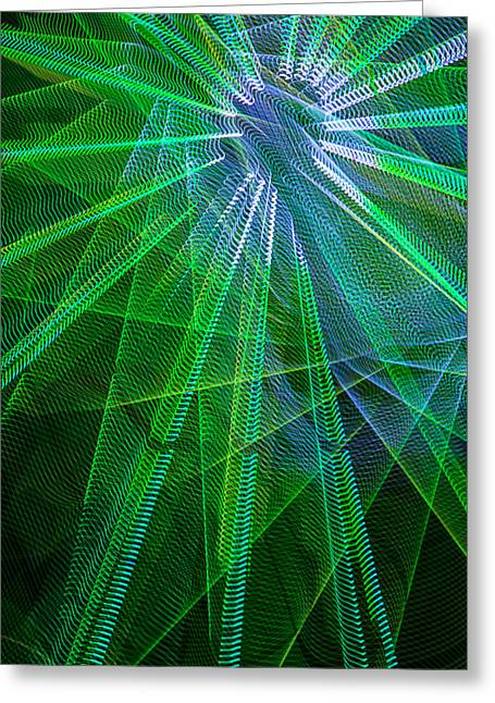 Radiance Greeting Cards - Abstract Green lights Greeting Card by Garry Gay
