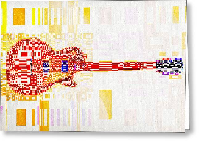 Red Guitar Digital Art Greeting Cards - Abstract Guitar Greeting Card by David Ridley