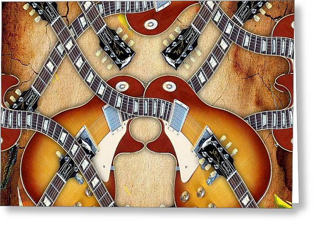 Electric Greeting Cards - Abstract Guitar Maze Greeting Card by Marvin Blaine
