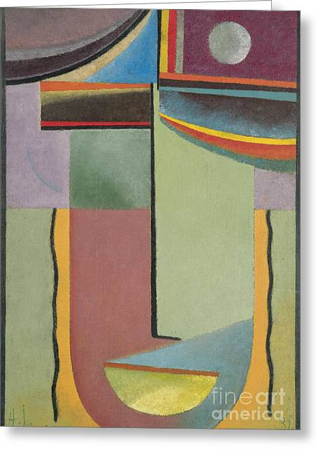 Orthodox Paintings Greeting Cards - Abstract Head Greeting Card by Alexej Von Jawlensky