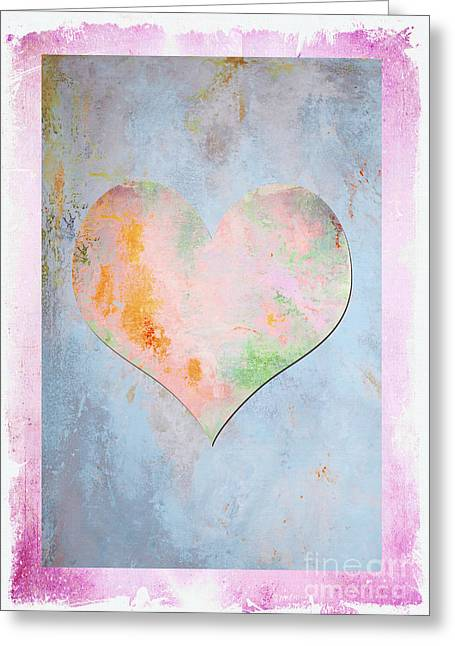 Romance Mixed Media Greeting Cards - Abstract Heart Pink Pastels Greeting Card by ArtyZen Studios