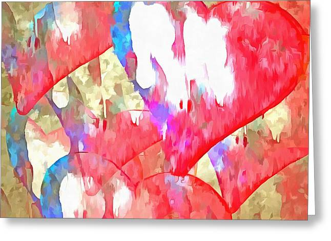 Abstract Hearts 16 Greeting Card by Edward Fielding