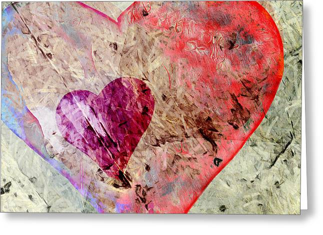 Abstract Hearts 17 Greeting Card by Edward Fielding