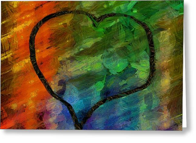 Dot Greeting Cards - Abstract Hearts 22 Greeting Card by Edward Fielding