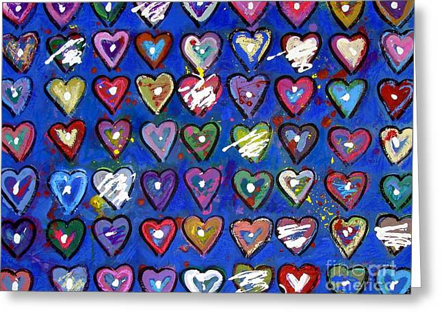 Xxi Art Greeting Cards - Abstract Hearts Greeting Card by Venus