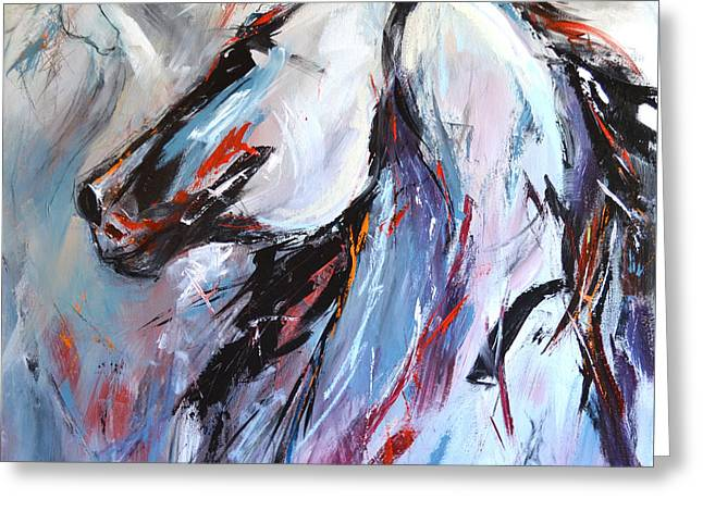 Abstract Horse 5 Greeting Card by Cher Devereaux