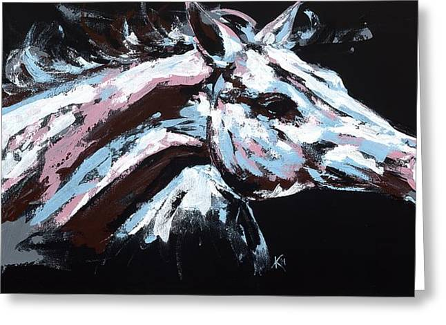 Farm Animal Abstracts Greeting Cards - Abstract Horse Greeting Card by Konni Jensen