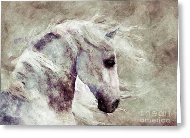 Sepia Chalk Greeting Cards - Abstract Horse Portrait Greeting Card by Elle Arden Walby
