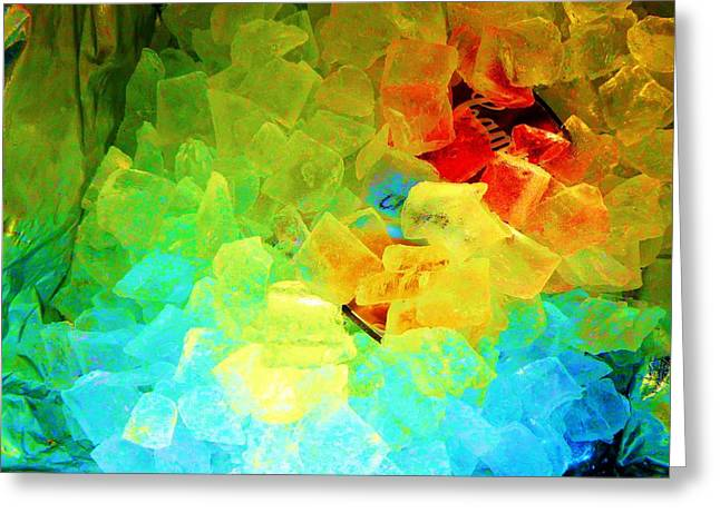 Blue Green Wave Greeting Cards - Abstract Ice 3 Greeting Card by Dietrich ralph  Katz