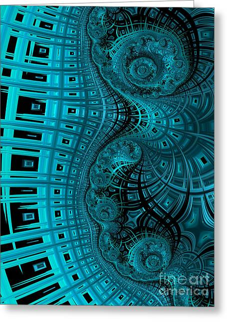 Blue Abstracts Greeting Cards - Abstract in Blue and Black Greeting Card by John Edwards