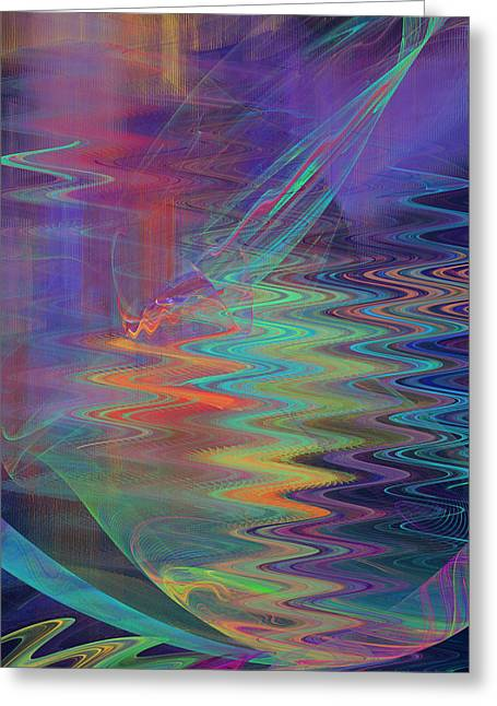 Jane Mcilroy Greeting Cards - Abstract in Blue and Purple Greeting Card by Jane McIlroy