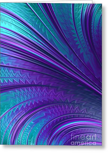 Mysterious Digital Greeting Cards - Abstract in Blue and Purple Greeting Card by John Edwards