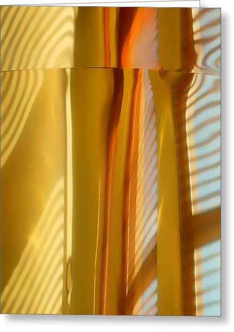 Venetian Blinds Greeting Cards - Abstract In Brass #3 - Historic Library Building - Omaha Nebr Greeting Card by Nikolyn McDonald