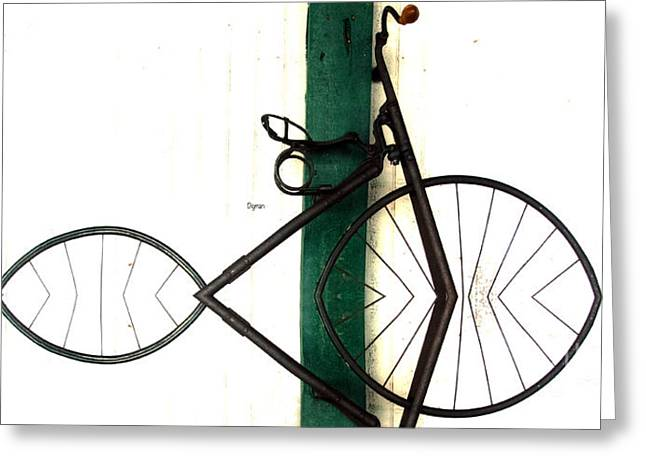 Vintage Bicycle Greeting Cards - Abstract in Geometric Velocipede  Greeting Card by Steven  Digman