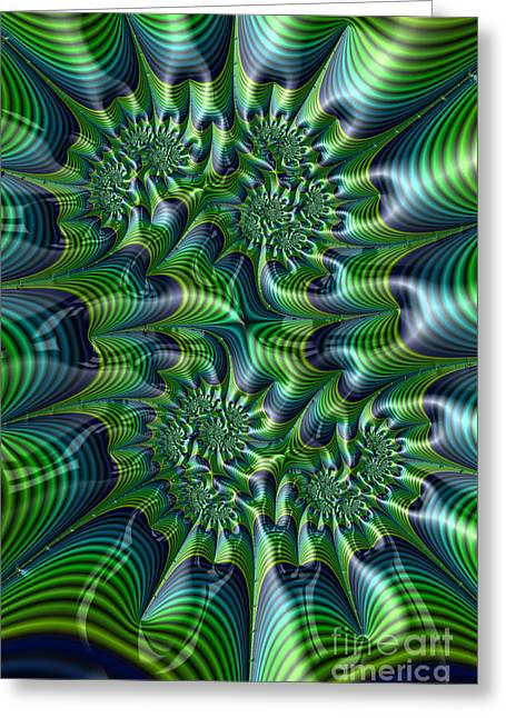 Green And Blue Greeting Cards - Abstract in Green and Blue Greeting Card by John Edwards