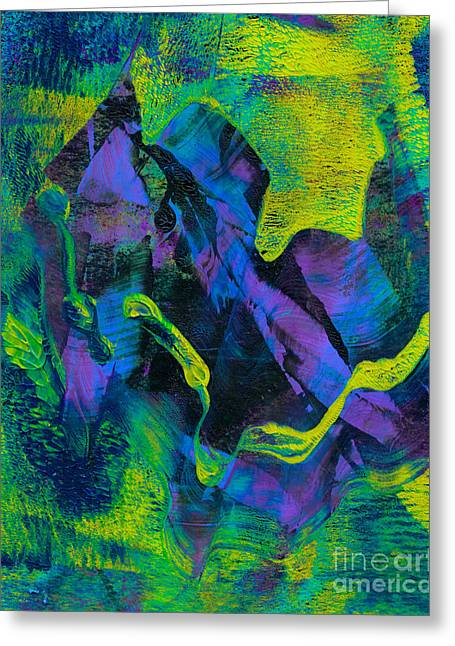 Printmaking Greeting Cards - Abstract in Green and Blue Greeting Card by Laura L Leatherwood