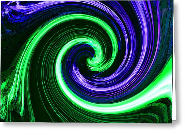 Yang Greeting Cards - Abstract in Green and Purple Greeting Card by Art Block Collections