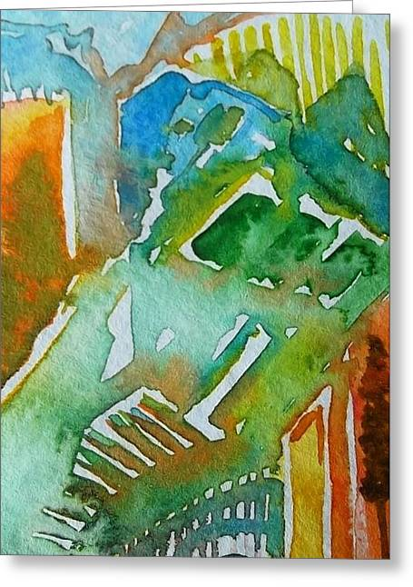Wet In Wet Watercolor Greeting Cards - Abstract in Green Greeting Card by Liz Naepflin