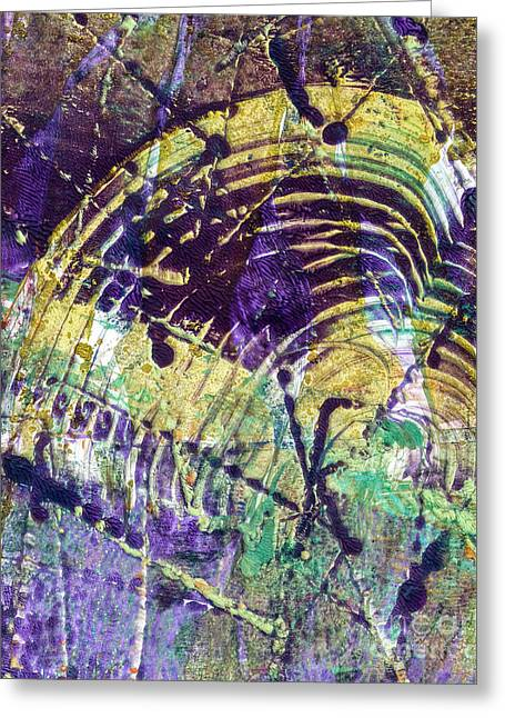 Printmaking Greeting Cards - Abstract in Purple Greeting Card by Laura L Leatherwood