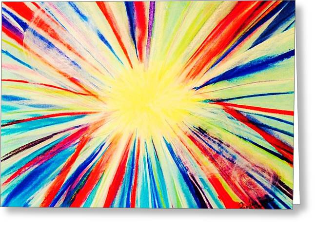 Sun Rays Pastels Greeting Cards - Abstract in Radiance Greeting Card by Renee Michelle Wenker