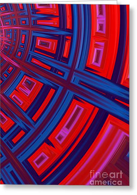 Red And Blue Greeting Cards - Abstract in Red and Blue Greeting Card by John Edwards