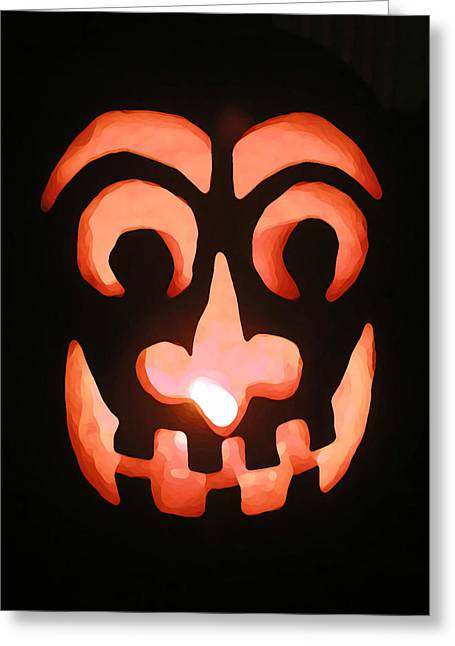 Trick-or-treaters Greeting Cards - Abstract Jack Greeting Card by Jean Hall